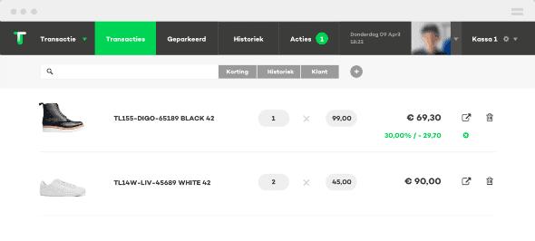 kassasysteem retail transactiescherm screenshot