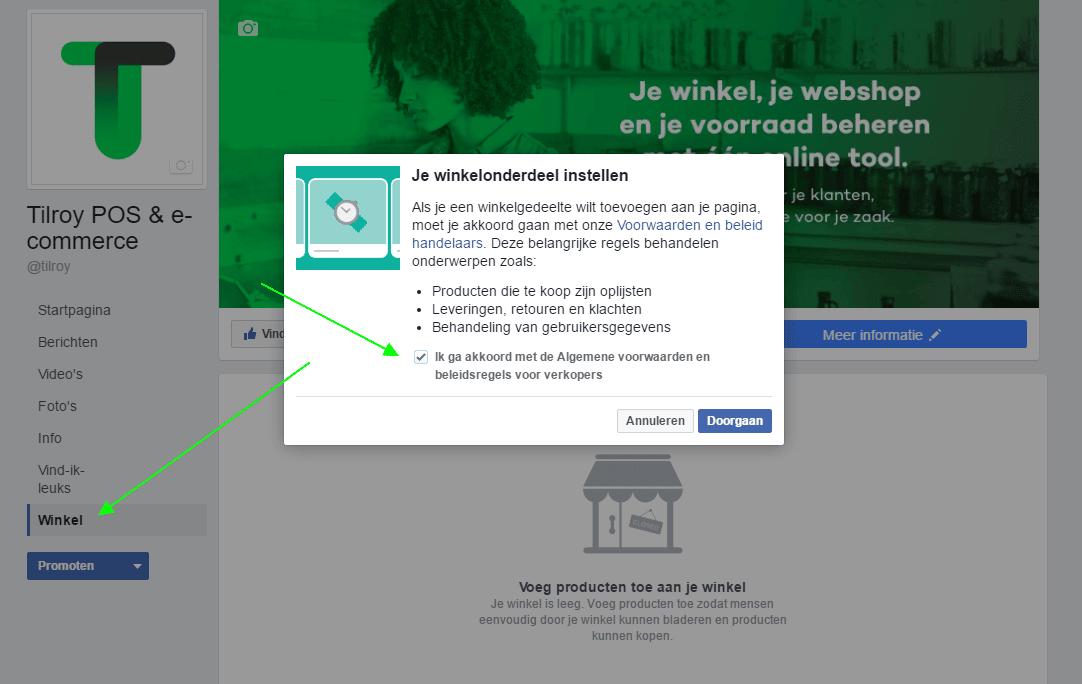 een facebook winkel maken stap 2: ga akkoord met de algemene voorwaarden