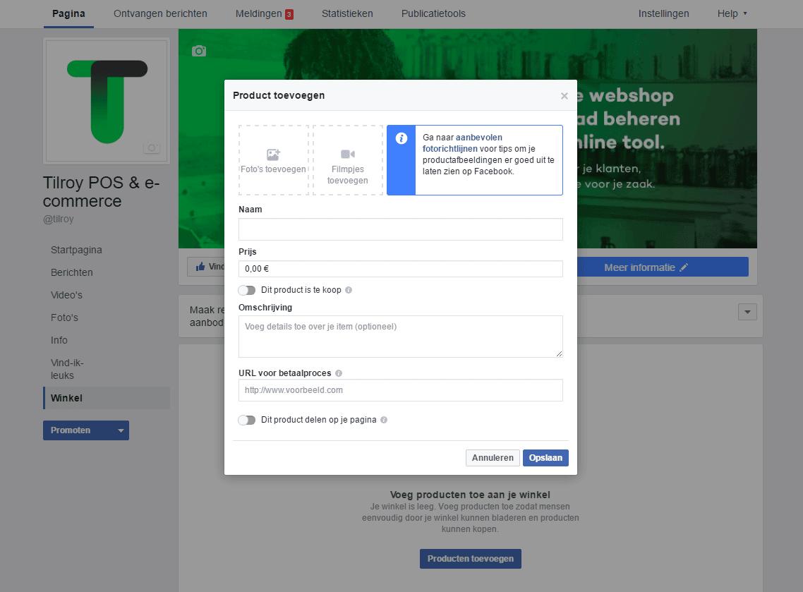 een facebook winkel maken: producten toevoegen en verrijken