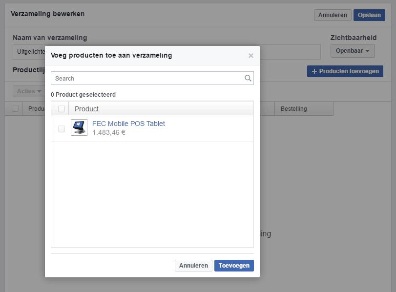 een facebook winkel maken: voeg producten toe aan een verzameling