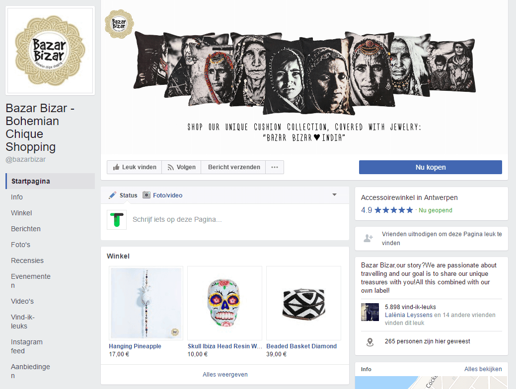 screenshot facebook winkel BazarBizar