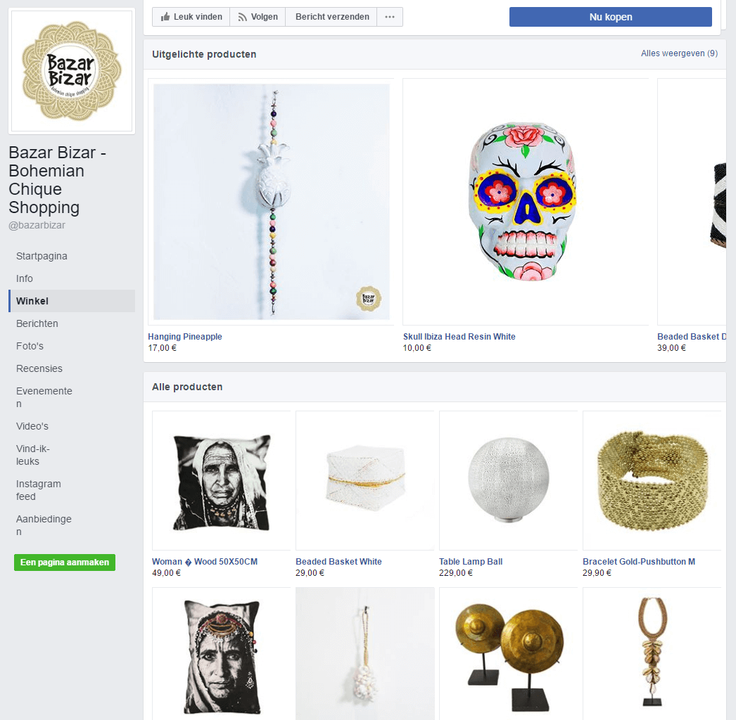 screenshot 2 - facebook winkel BazarBizar
