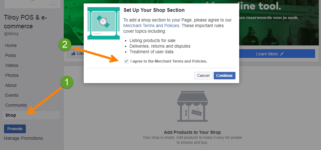 Creating a Facebook shop Step 2: Agree to the Terms and Conditions