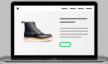 Scherm Webshop in header Ecommerce pagina