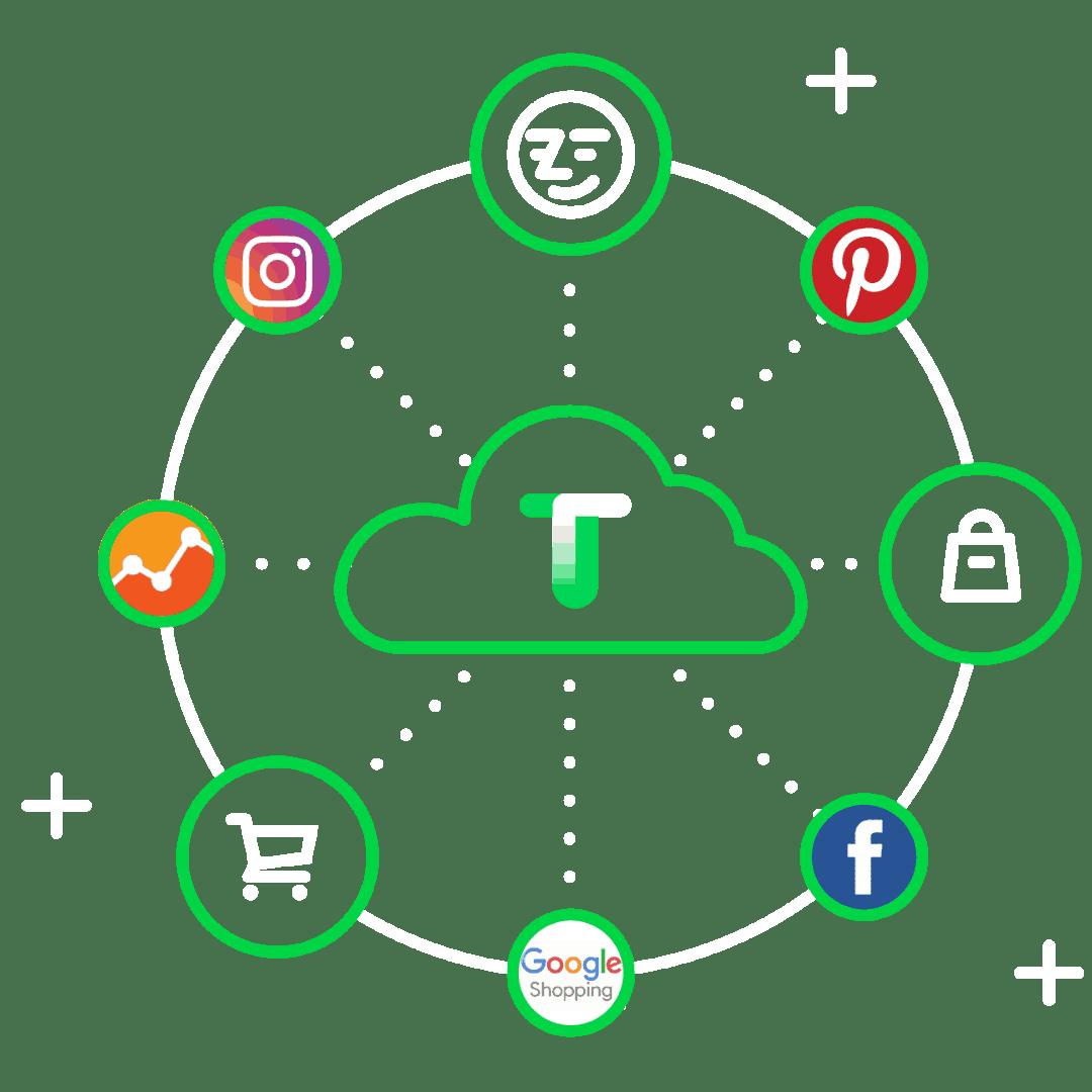een webshop die verkoopt illustratie tilroy met icons online marktplaatsen