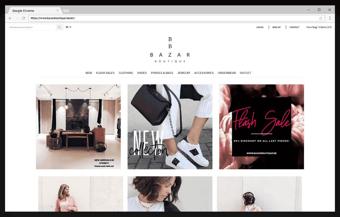 screenshot webshop bazar boutique