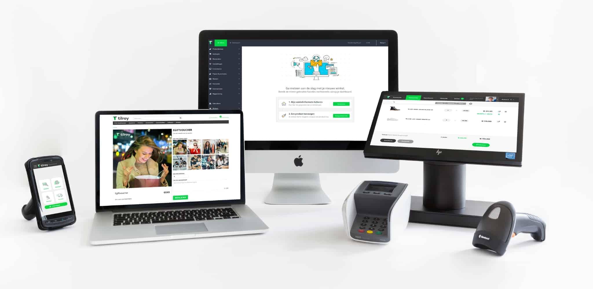omnichannel retail setup met verschillende hardware zoals shopscanner, online kassasysteem, betaalterminal, barcode scanner