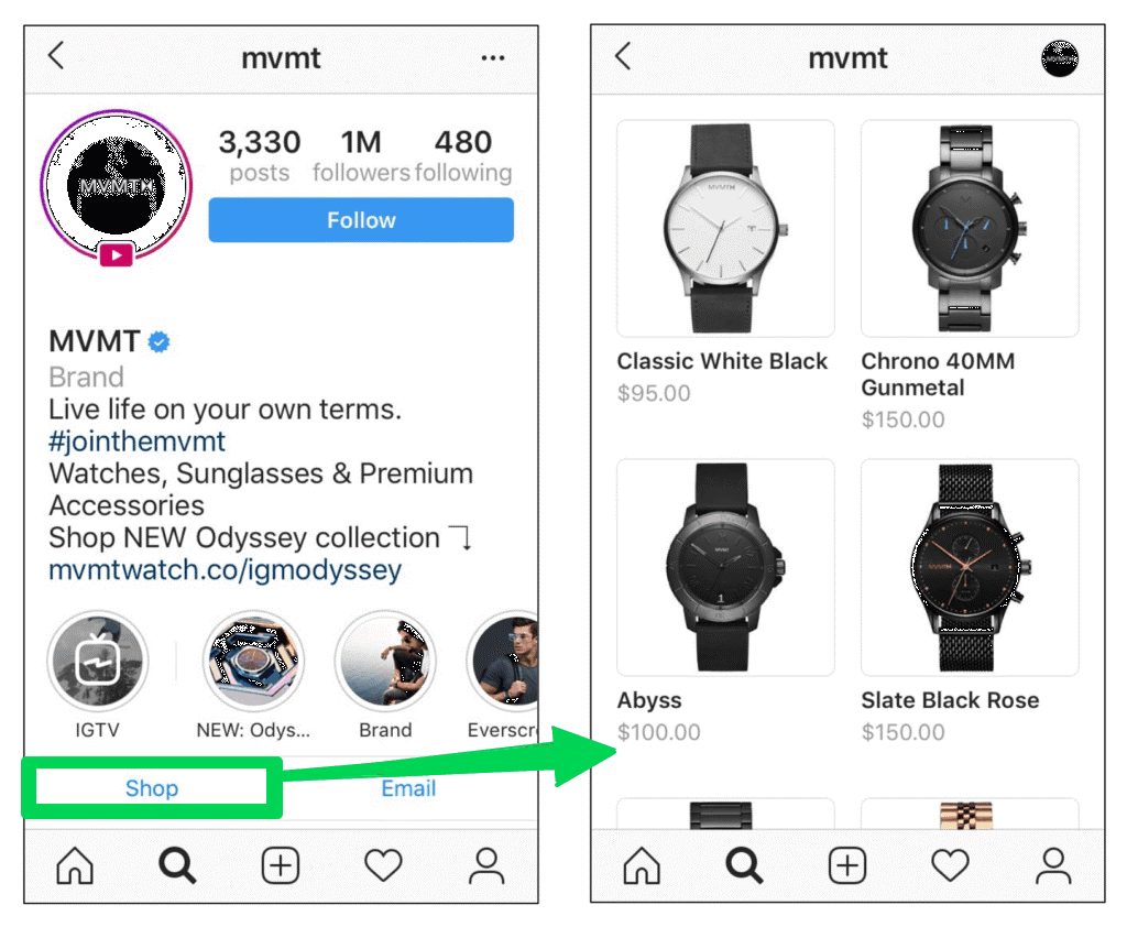 screenshot instagram shopping shop tabblad