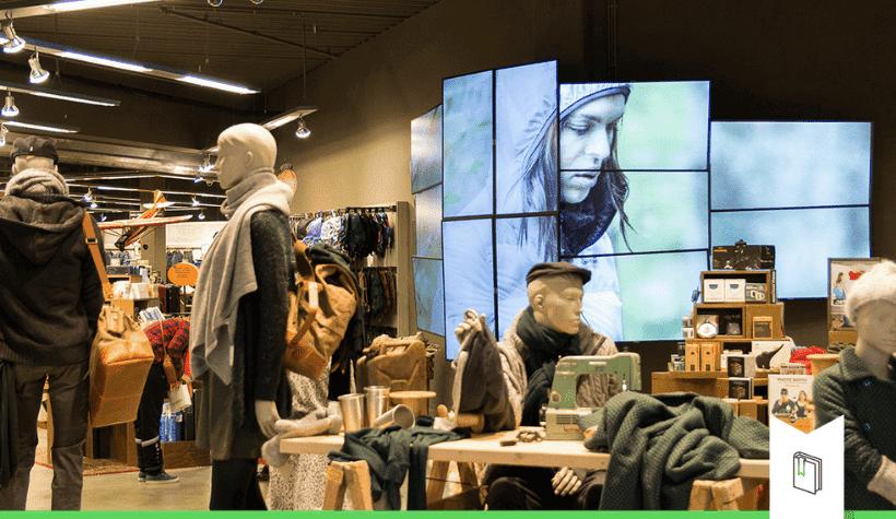 beeldschermen in winkel concept en corner
