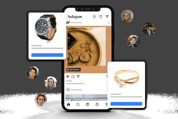 illustratie instagram shopping juwelen en horloges